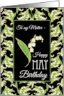 Lilies May Birthday Card for Mother, Black Background card