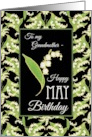 Lilies May Birthday Card for Grandmother, Black Background card