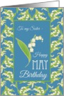 Lilies May Birthday Card for Sister, Black Background card