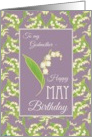 Lilies May Birthday Card for Godmother, Mauve Background card