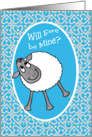 Cute Sheep, 'Will Ewe Be Mine?' Fun Valentine's Card