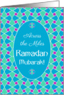 Ramadan Card Across the Miles: Blue, Green, Purple, Islamic Pattern card