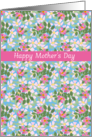 Pretty Mother's Day Card, Pink Dogroses on Blue card
