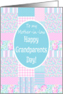 Grandparents Day Card for Mother-in-law: Pink Roses Patchwork card