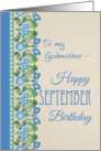 Morning Glory September Birthday Card for Godmother card