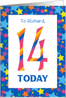 Custom-front 14th Birthday Card, Bright Stripes and Stars card