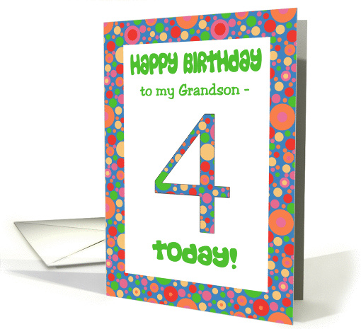 4th Birthday Card for a Grandson, Bright and Bubbly card (1058113)