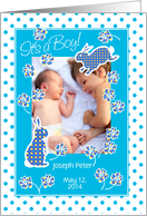 Baby Boy Announcement Photo Card, Cute Bunny Rabbit card