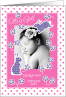Baby Girl Announcement Photo Card, Cute Bunny Rabbit card