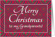 Christmas Card, Grandparent, Festive Red, Green Baubles & Stars card