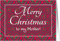 Christmas Card, for Mother, Festive Red, Green Baubles & Stars card