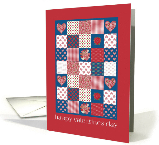 Valentine's Day, Hearts and Roses Patchwork card (1228806)