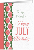 July Birthday Card for a Friend, Water Lilies card