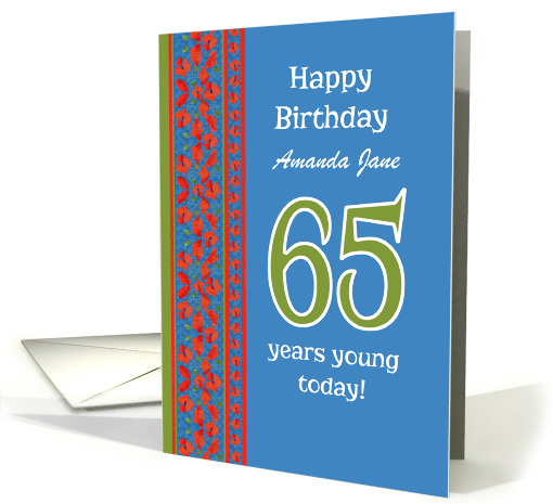 Custom Front Red Field Poppies 65th Birthday card (1312992)