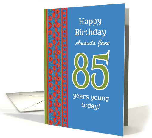 Custom Front Red Field Poppies 85th Birthday card (1313000)