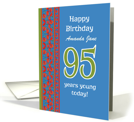 Custom Front Red Field Poppies 95th Birthday card (1313012)
