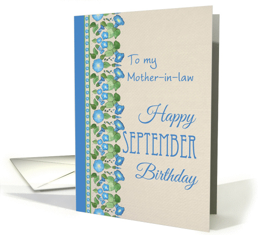 Morning Glory September Birthday Card for Mother-in-law card (1317094)