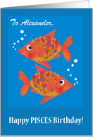 Custom Name-specific Goldfishes Pisces Birthday card
