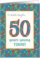 Custom Front Birthday Card 50 Years Young Retro Floral card