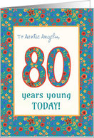 Custom Front Birthday Card 80 Years Young Retro Floral card