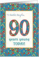 Custom Front Birthday Card 90 Years Young Retro Floral card