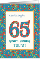 Custom Front Birthday Card 65 Years Young Retro Floral card