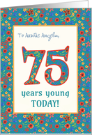 Custom Front Birthday Card 75 Years Young Retro Floral card