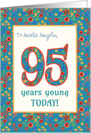 Custom Front Birthday Card 95 Years Young Retro Floral card