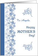 Custom Front Blue on White Floral Mother's Day card