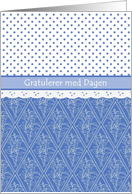 Norwegian Birthday Card Periwinkle Blue Pattern, Faux Lace, Polka Dots card