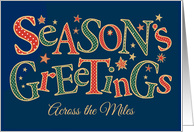 Season's Greetings, Across the Miles, Red, Green, White Polkas card