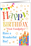 Bright Happy Birthday for Great Grandfather, Stars, Bunting, Candles card