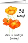 icelandic Poppies 50th Birthday Card