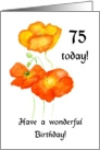 icelandic Poppies 75th Birthday Card