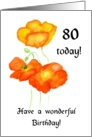 icelandic Poppies 80th Birthday Card