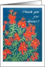 Red Wallflowers 'Thank You for Dinner' Card