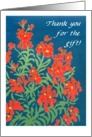 Red Wallflowers 'Thank You for the Gift' card