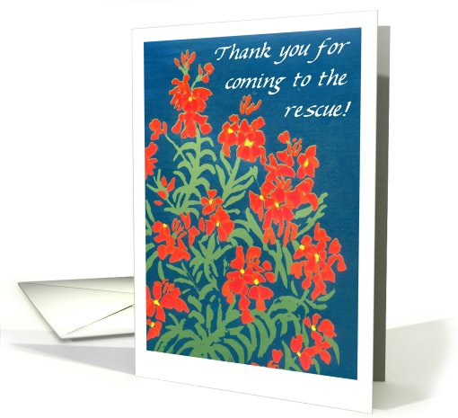 Red Wallflowers 'Thank You for Your Help' card (635260)