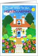 Housewarming Invitation Card - Cottage with Flowers card