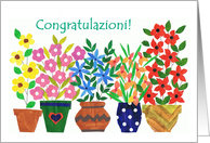 Italian Greeting Congratulations Card - 'Flower Power' card
