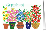 Norwegian Greeting Congratulations Card - 'Flower Power' card