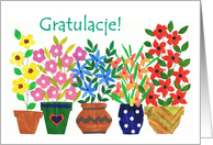 Polish Greeting Congratulations Card - 'Flower Power' card