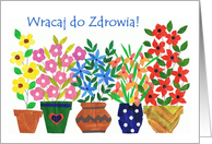 Polish Get Well Soon - 'Flower Power' card