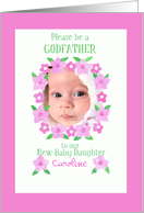 Godfather Invitation Photo Card for Baby Girl card