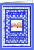 New Baby Boy Twins Announcement Photo Card
