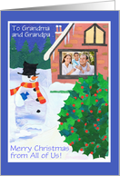 Christmas Photo Card for Grandparents - Snowman card