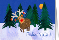 Portuguese Christmas Reindeer Card