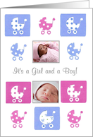 New Baby Twins Photo Card Announcement card