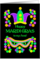 Mardi Gras Card for Aunt, with Beads, Mask and Crown card