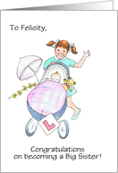 Custom Front New Baby Brother or Sister Congratulations Card, Little Girl With Baby in Pram card